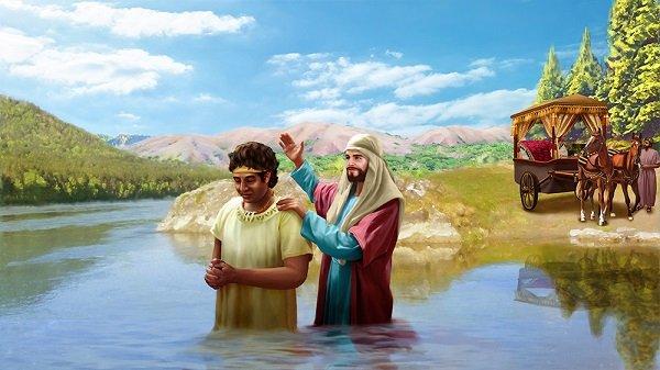 ნათლავდნენ წყლით იოანე, იესო, მოწაფეები